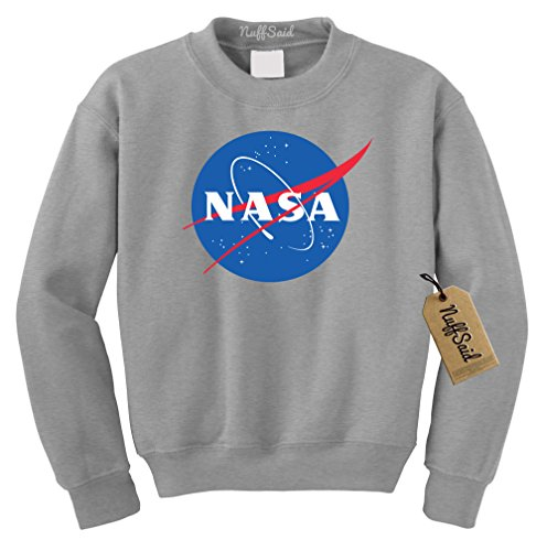 NuffSaid NASA Worm Logo Crewneck Sweatshirt Sweater Pullover - Unisex Crew (Medium, Grey) ()
