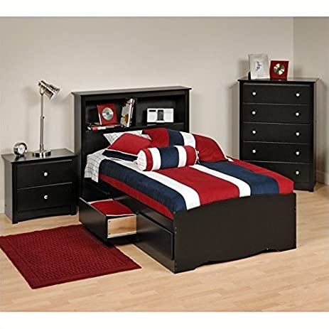 Prepac Sonoma 3 Piece Twin Youth Bedroom Set In Black