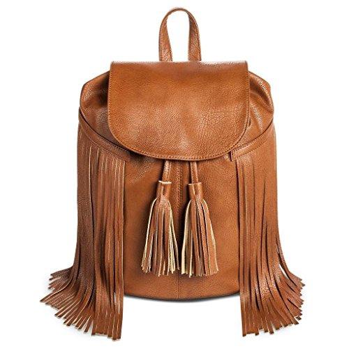 Fringe Flap (Mossimo, Fringe Backpack Handbag with Solid Flap Cover, Cognac)