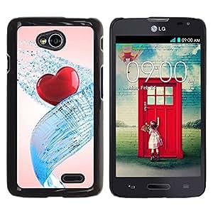 TopCaseStore / la caja del caucho duro de la cubierta de protección de la piel - Love Water Heart - LG Optimus L70 / LS620 / D325 / MS323