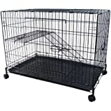 YML 2-Level Small Animal Chichilla Cat Ferret Cage, Black