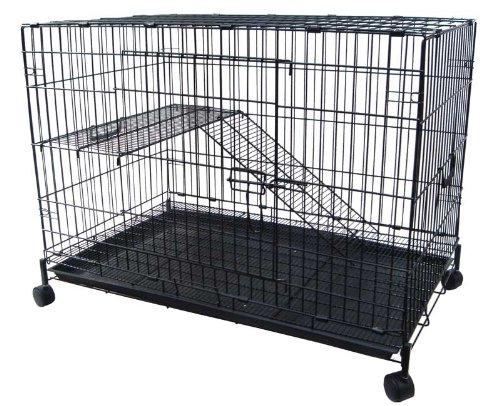 YML 2-Level Small Animal Chichilla Cat Ferret Cage, Black by YML