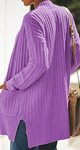 JLIWAT WOMEN'S SOLID COLOR KNITTED SWEATER FASHION LONG SLEEVE MEDIUM CARDIGAN LOOSE KNIT JACKET