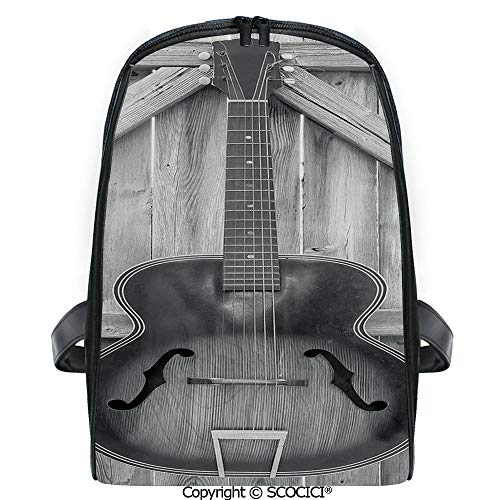 SCOCICI Lightweight Travel Backpack Vintage Acoustic Instrument Guitar Hanged on Old Wooden Door Fences Country Ranch Holiday Gift for Girls