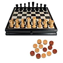WE Games Modern Chess & Checkers Game Set - Weighted Chessmen & Black Stained Board with Storage Drawers