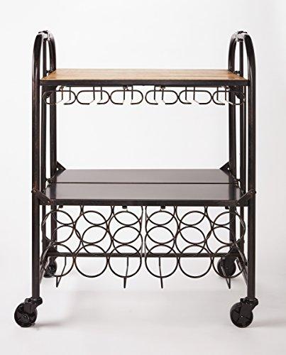 Artesa Folding Bar/Kitchen Storage Cart with Wine Rack (Wine Rack Bar Cart)