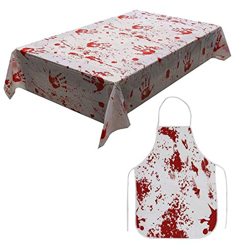 Scary Halloween Bloody Apron Bloodstained Tablecloth with Horror Blood Handprint Splatter Printed, Messar Zombie Doctor Mad Scientist Murder Butcher Costume Fancy Dress Props Decor for Haunted House T -
