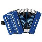 Kiddire 10 Keys Kids Accordion, Toy Accordion Musical Instruments for Children Kids Pre-Kindergarten Toddlers (Blue)