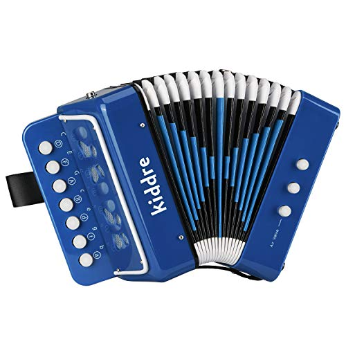 Kiddire 10 Keys Kids Accordion, Toy Accordion Musical Instruments for Children Kids Pre-Kindergarten Toddlers (Blue)