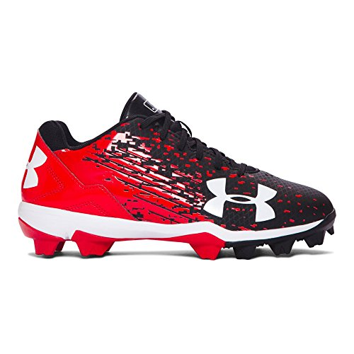 Under Armour Youth UA Leadoff Low RM Jr. Baseball Cleat, 5, BLACK / RED