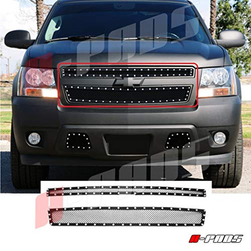 Steel Overlay Grille - A-PADS 2PC Black STEEL Mesh Silver Rivet Grille for Chevy TAHOE 2007-2014 / SUBURBAN 07-2013 / AVALANCHE 07-2012 - OVERLAY Bolt-On Studs Studded