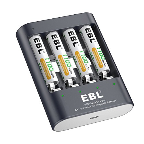 EBL 40min iQuick USB Battery Charger with AAA 1100mAh Rechargeable Batteries 4 Counts