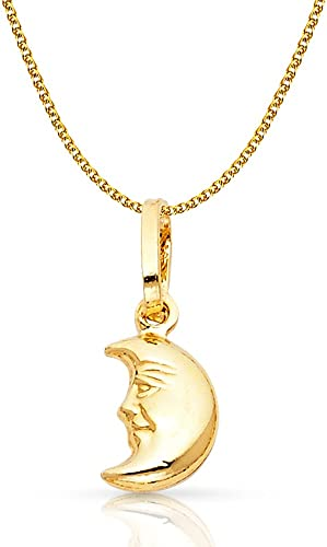 14K Yellow Gold Key Charm Pendant with 1.2mm Flat Open Wheat Chain Necklace