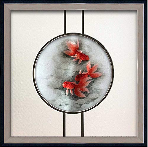 King Silk Art 100% Handmade Embroidery Stereoscopic Framed Three Red Japanese Koi Fish Oriental Wall Hanging Art Asian Decoration Tapestry Artwork Picture Gifts 38401 SFW
