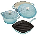 Cast Iron Kitchen Pan Set Cookware Oven Proof Skillet Pan & Casserole Dishes with Self Basting Lids by Cooks Professional (Blue)