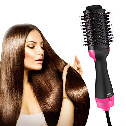 Hair Dryer Brush, Hot Air Brush 3-IN-1 One Step Negative Ion Electric Hair Dryer, Straightener & Volumizer Curler for Reducing Frizz, Hair Styling