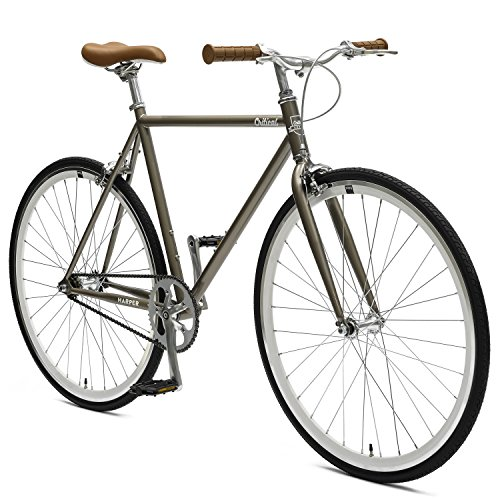 Critical Cycles Harper Single-Speed Fixed Gear Urban Commuter Bike; 53cm, Pewter