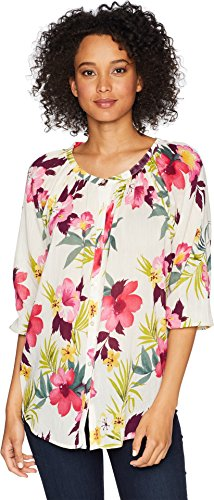 Chaps Women's Tropical Floral-Print Cotton Top Cream/Multi Large