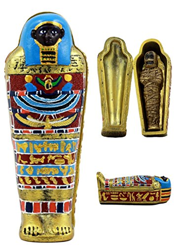 Ebros Gift Ancient Egyptian Small Mummy with Sarcophagus Miniature Jewelry Trinket Box Container Keepsake