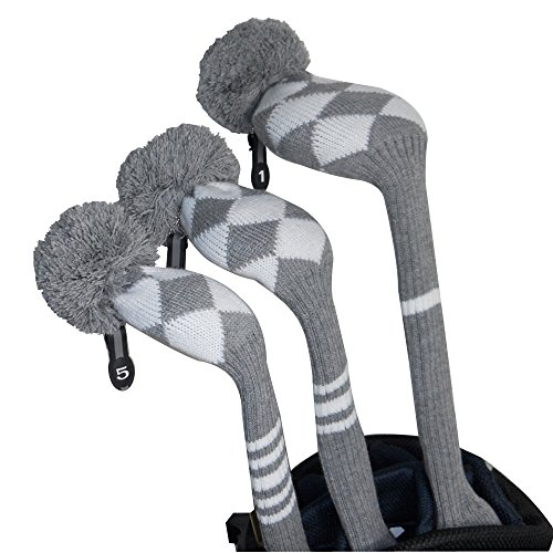 Scott Edward Warm Winter, New Style Grey/white Argyle Golf Pom Pom Headcover, Long Neck, Set of 3 for Driver(460cc), Fairway Wood, Hybrid, Personalized Golf Accessories, Show Your Difference