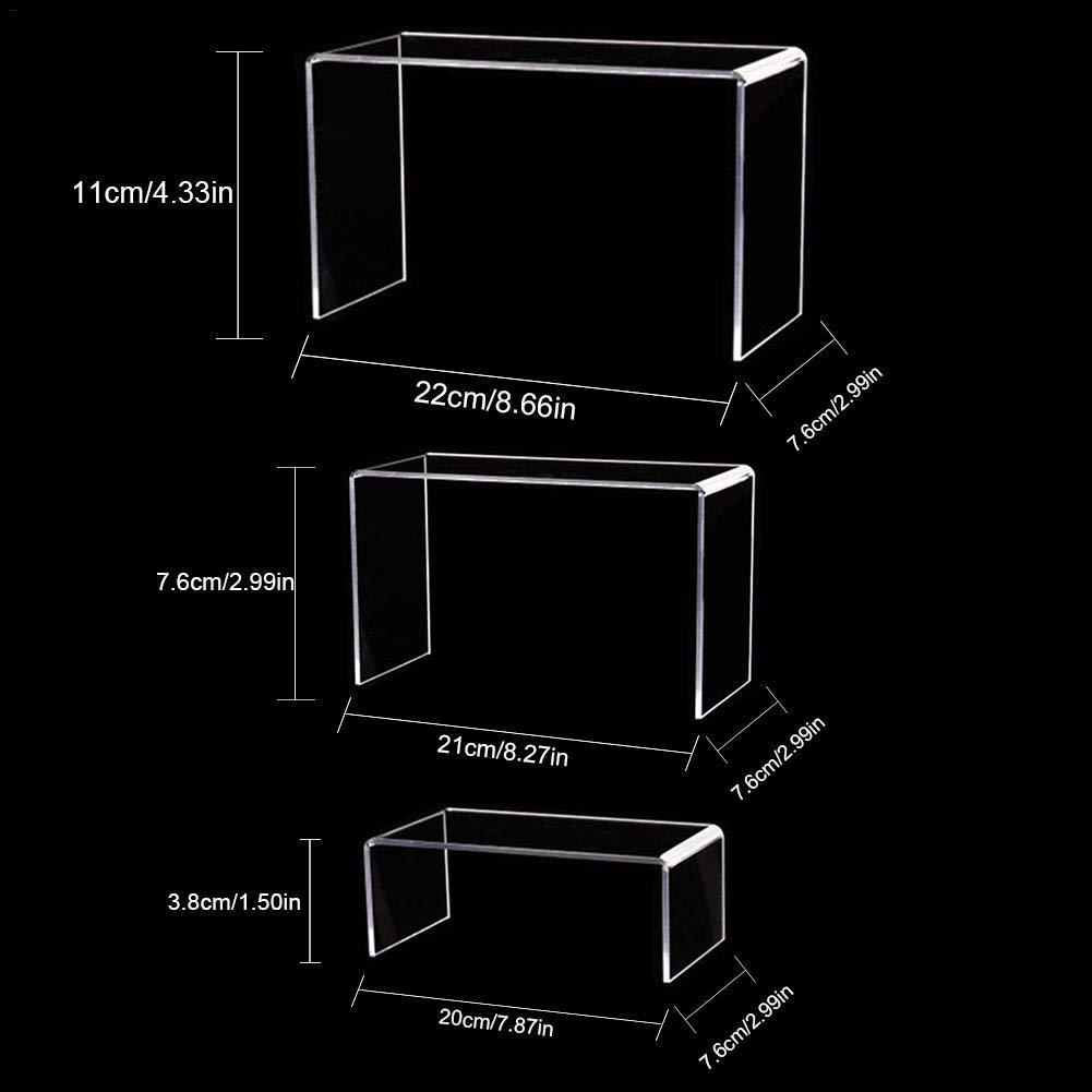 Einzelhandel /& Heimdekor Schmuck-Display Riser Shelf Showcase-Leuchten f/ür die Pr/äsentation von Speisen Figuren Dessert Schmuck QUUY Satz von 3 klaren Acryl-Ausstellungsst/änden