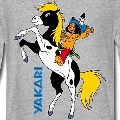 Spreadshirt Yakari Fait du Cheval sur Petit-Tonnerre T-Shirt Manches Longues Premium Enfant