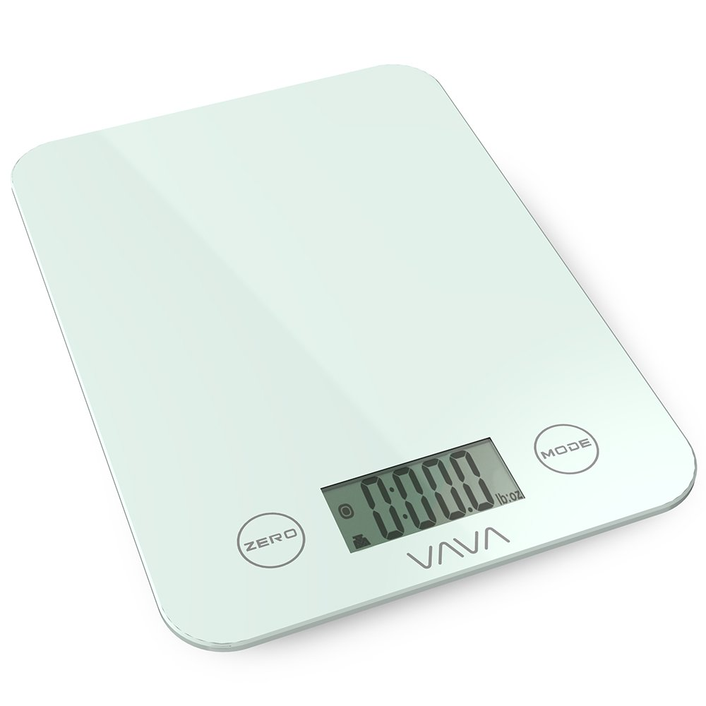 VAVA Digital Kitchen Food Scale Tempered Glass Surface & Touch Sensitive Controls, Perfect for Baking & Cooking (3 Measuring Modes, Up to 8 kg / 17.64 lb / 282.19 oz, FDA Certified, Auto Shut Off)