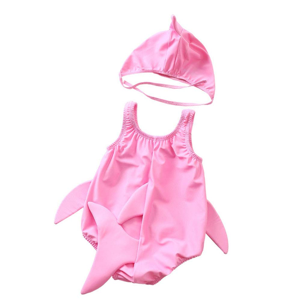 Miccina Baby//Toddlers Boys Girls 3D Cartoon Shark One-Piece Swimsuit with Cap Sun Protection Swimwear Bathing Suit