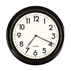 Adeco CK0080 Round Wall Hanging Clock, Large, Black Rim, Black