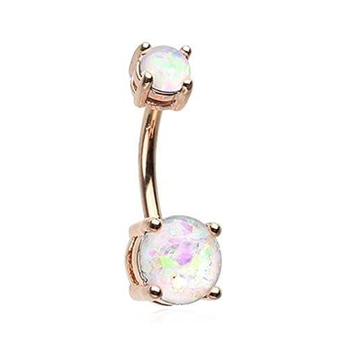 Wildklass 14 Gauge Rose Gold Opal Sparkle Belly Button Ring