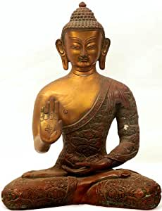 Seated Buddha in Abhaya Mudra (Robes Decorated with Auspicious Symbols) - Brass Sculpture
