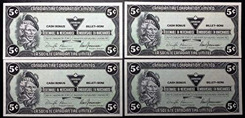 Unbranded Collection of 4X 1991 Canadian TIRE Money 5 Cents Notes Crisp UNICRCULATED