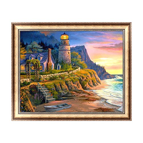 Feamos 5D Diamond Embroidery Kit Lighthouse Cross Stitch Craft for DIY Wall Decor