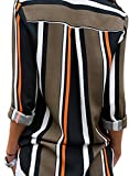 Astylish Womens V Neck Stripes Roll up Sleeve Button Down Blouses Tops