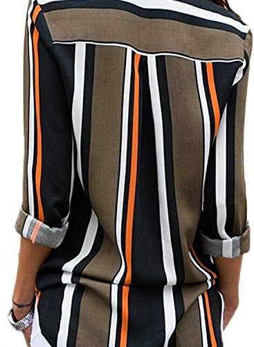 Womens Long Sleeve Summer Spring V Neck Button up Color Block Stripes Blouse Casual Tops and T Shirts for Jeans Under 20 XX-Large 18 20 Black by Astylish (Image #1)