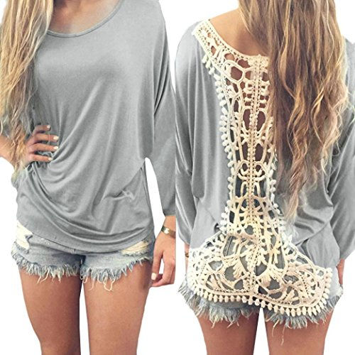 Blouse Blend (2017 Hot Shirt! AMA(TM) Women Sexy Lace Half Sleeve Loose Casual T-shirt Blouse Tops (XL, Gray))