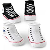 Converse Baby Booties Set for Infant Boys and Girls (0-6 Months) Black, 0 - 6 Months
