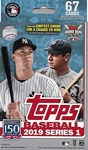 (Hanger Box 2019 Topps Baseball Factory Sealed Series One with 67 Cards per Box Possible Autographs Rookies Game Used Relic Cards and More)