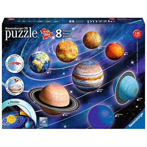 51FRRU1AUdL. SS500 toda la calidad ravensburger en un fantástico puzzle 3d del sistema planetario! Las puzzleballs se ensamblan perfectamente sin adhesivo, pieza por pieza! Descubre los ocho planetas de nuestro sistema planetario con el puzzle 3d de ravensburger