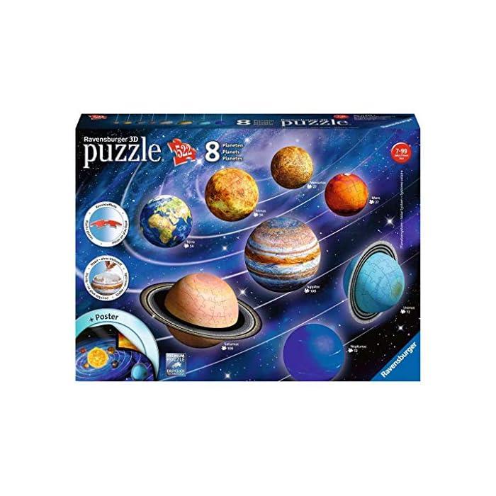 51FRRU1AUdL toda la calidad ravensburger en un fantástico puzzle 3d del sistema planetario! Las puzzleballs se ensamblan perfectamente sin adhesivo, pieza por pieza! Descubre los ocho planetas de nuestro sistema planetario con el puzzle 3d de ravensburger