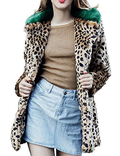Aishang Women's Green Collar Leopard 2 Print Winter Faux Fur Duster Coat Outwear