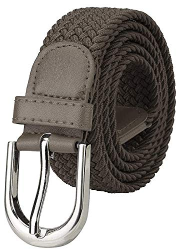 Uniq World Stretchable braided cotton belt for men and women,flexible unisex belt color Grey (size fits on upto 36 inch of waist.)