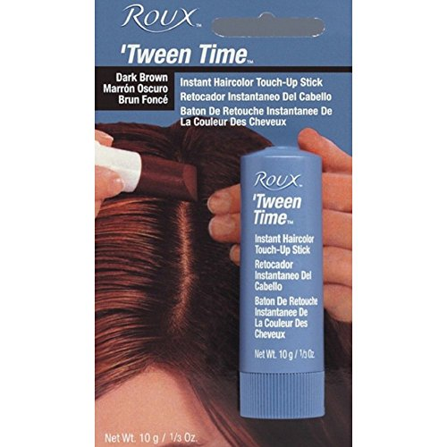 Tween Time Hair Crayons (Roux Temporary Haircolor Touch-Up Stick Dark Brown, 1 ea)