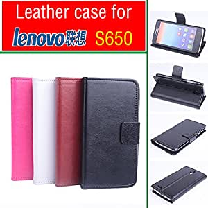 Cell Buddy Lenovo S650 case cover With Wallet , Good Quality Leather Case + hard Back cover For Lenovo S 650 cellphone --- Color:Rose