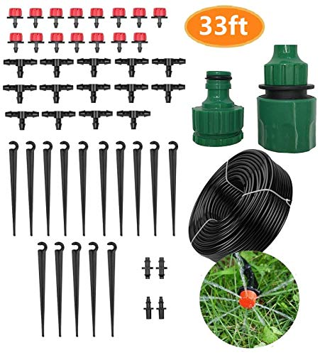 NiceFit 33ft Drip Irrigation Kits, Garden Irrigation System, DIY Saving Water Automatic Irrigation Equipment Set for Garden Greenhouse, Flower Bed, Patio, Lawn