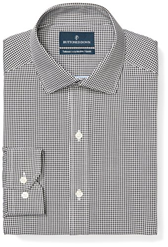 Non Iron Shirt - Buttoned Down Men's Tailored Fit Spread-Collar Pattern Non-Iron Dress Shirt, Black Small Gingham, 16