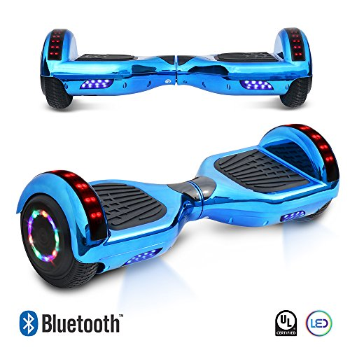 6.5' inch Chrome Hoverboard Electric Smart Self Balancing Scooter With Built-In Bluetooth Speaker LED Wheels and LED Side Lights- UL2272 Certified (Blue)