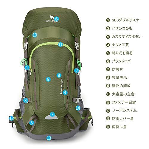 5fa282b45fda 登山リュック45L CAMEL ユニセックス 登山バッグ ハイキング バックパック リュックサック 防水 軽量 徒歩