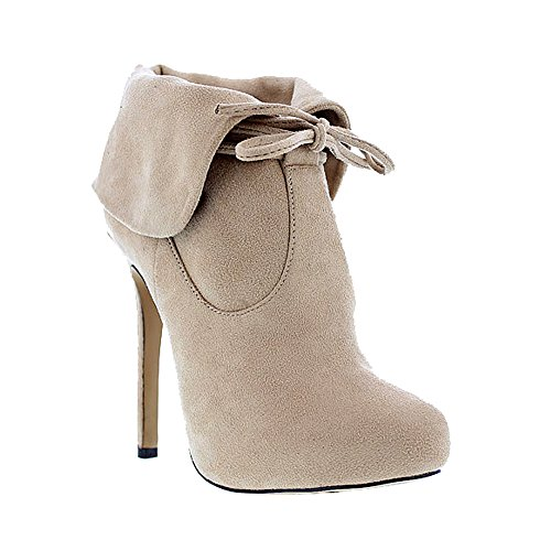 Liliana Faux Folded Stiletto Toe Nude Suede Tie Gilly Tavi72 Collar Bootie Almond r47q7wx1n