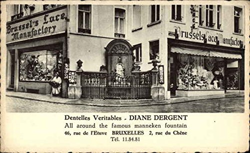 - Real Lace Stores, All Around the Famous Manneken Fountain Brussels, Belgium Original Vintage Postcard